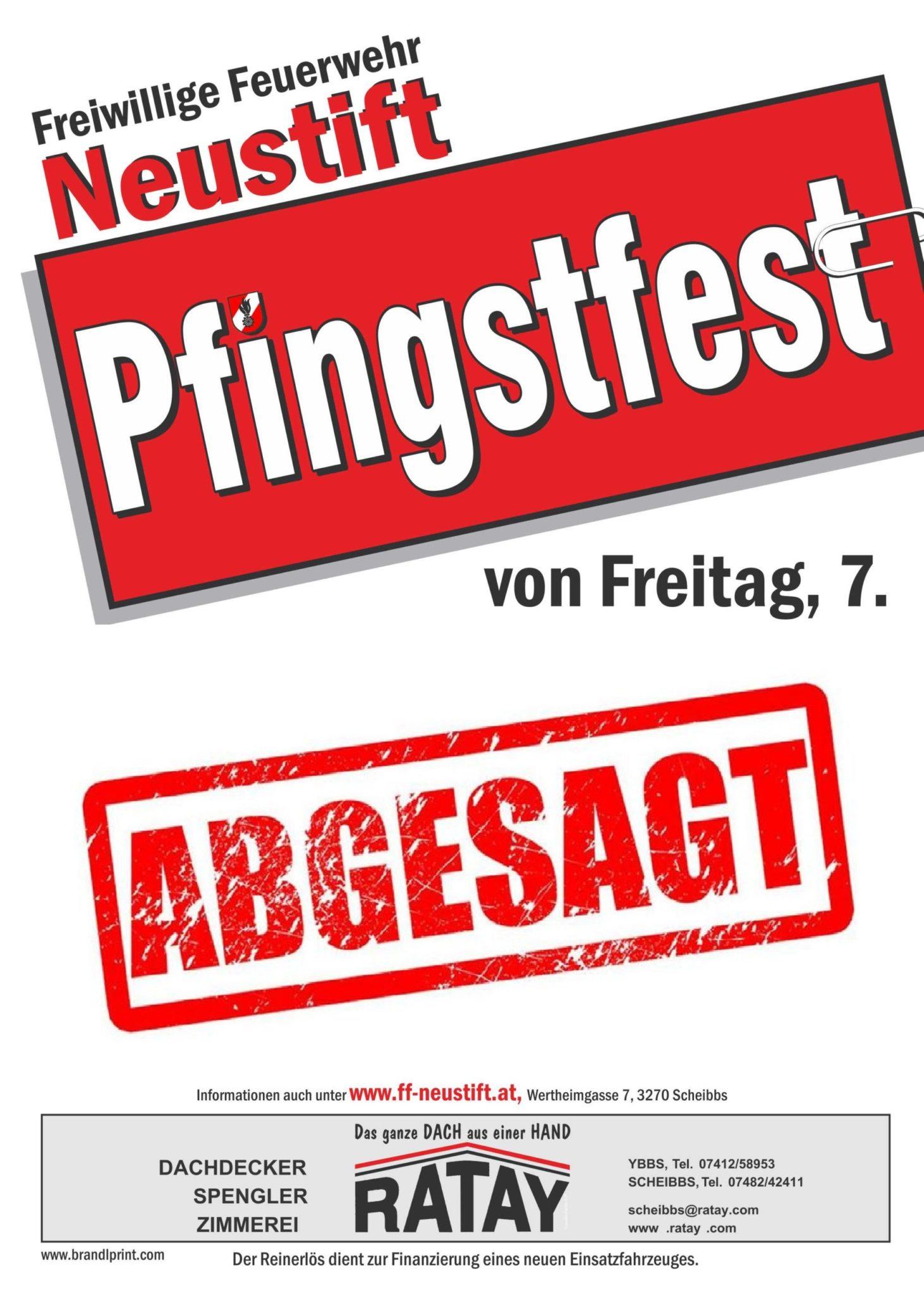 ACHTUNG! PFINGSTFEST ABGESAGT!
